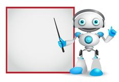 Robot character vector illustration with friendly gesture teaching or showing technology. Information for design presentation isolated in white background royalty free illustration