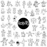 Robot characters big set. Black and White Cartoon Illustration of Robots Fantasy Characters Huge Set Stock Photo