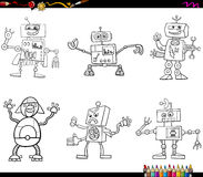 Robot characters coloring page Royalty Free Stock Photo