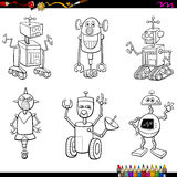Robot characters coloring page Stock Photo