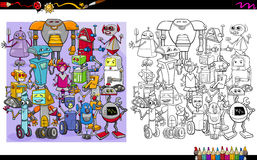 Robot characters coloring page Royalty Free Stock Images