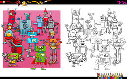 Robot characters group coloring book Royalty Free Stock Image