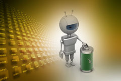 Robot with chargeable battery Stock Photos