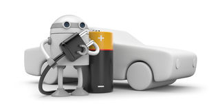 Robot charging electric vehicle Royalty Free Stock Photo