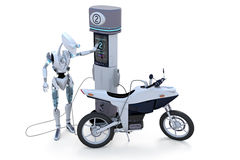 Robot Charging Self and Motorcycle Royalty Free Stock Photo
