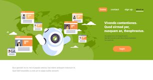 Robot chatbot online messenger indian people global communication application concept world map background flat vector illustration