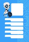 Robot Chatter Bot Modern Chatbot Service Over Circuit Background With Copy Space. Flat Vector Illustration Royalty Free Stock Photo