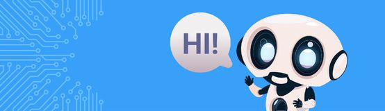 Robot Chatter Bot Say Hi Over Circuit Background With Copy Space. Flat Vector Illustration Stock Images