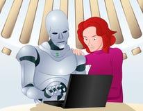 Robot che aiuta sul problema del computer portatile Fotografia Stock Libera da Diritti