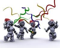 Robot che celebrano ad una festa di Natale Fotografia Stock Libera da Diritti