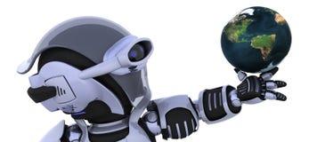 Robot che controlla un globo illustrazione vettoriale