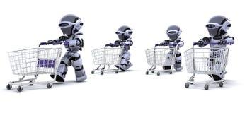 Robot che funzionano con i carrelli di acquisto Immagini Stock Libere da Diritti