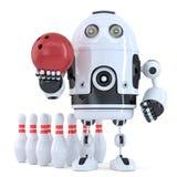 Robot che gioca bowling Contiene il percorso di ritaglio Fotografie Stock Libere da Diritti