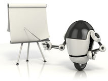 Robot che indica sulla scheda in bianco Fotografia Stock