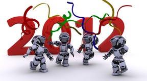Robot che porta il nuovo anno dentro Immagini Stock Libere da Diritti