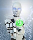 Robot che spinge il bottone di potere Immagine Stock