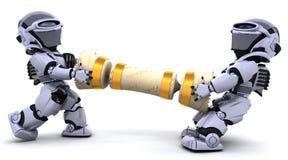Robot che tirano un cracker di natale Immagini Stock Libere da Diritti