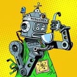 Robot chef food tastes Stock Image