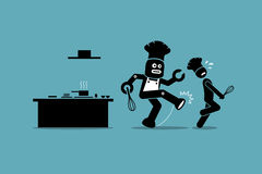 Robot chef kicks away a human chef from doing his job at kitchen. Vector artwork depicts automation, future concept, artificial intelligence, and robot Stock Images