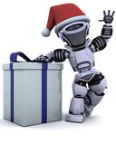 Robot with christmas gift box with bow Royalty Free Stock Image