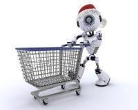 Robot christmas shopping vector illustration