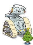 Robot and christmas tree Stock Images