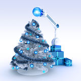 Robot and Christmas tree Royalty Free Stock Photos