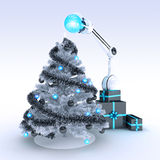Robot and Christmas tree Royalty Free Stock Images