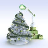 Robot and Christmas tree Royalty Free Stock Photography