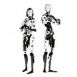 Robot cibernético femenino y masculino stock de ilustración