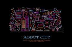 Robot City conceptual vector illustration Stock Photo