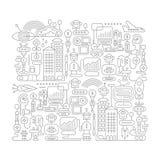Robot City doodle line art Royalty Free Stock Photos