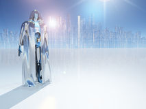 Robot before city vector illustration