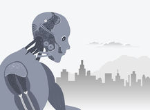 Robot with city skyline and clouds illustration Stock Images