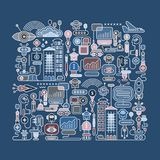 Robot City vector illustration Royalty Free Stock Image