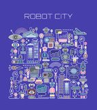 Robot City vector illustration Stock Images