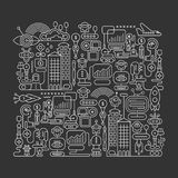 Robot City vector illustration Royalty Free Stock Images