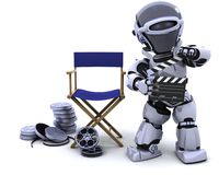 Robot with clapper boards and film reels. 3D render of robot with clapper boards and film reels Royalty Free Stock Images