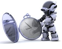 Robot with classic pocket watch Stock Photo