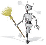 Robot cleaner. Cartoon illustration of a tired robot cleaner Royalty Free Stock Images