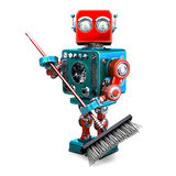 Robot cleaner with a broom. 3D illustration. . Contains clipping path Royalty Free Stock Photo