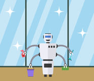 Robot cleaner at clean window background. Stock Photography