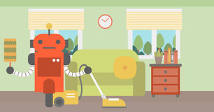 Robot cleaning carpet with vacuum cleaner. Stock Photography