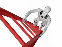 Robot climb ladder. 3d rendering robot climb red ladder isolated on white royalty free illustration