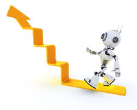 Robot climbing a graph Royalty Free Stock Images