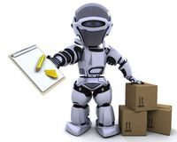 Robot with clipboard and boxes stock illustration