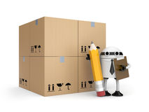 Robot with clipboard and boxes Royalty Free Stock Photography