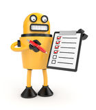 Robot with clipboard Royalty Free Stock Photo