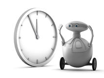 Robot and clock Royalty Free Stock Photography