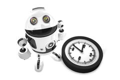 Robot with clock. 3D illustration. Stock Images